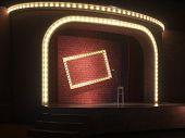Dark empty comedy cabaret stage. 3d illustration poster