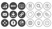 Internet, seo icons. Bandwidth speed, download arrow and mail signs. Hyperlink, monitoring symbols. Document, Globe and Clock line signs. Lamp, Magnifier and Paper clip icons. Vector poster