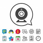 Webcam sign icon. Web video chat symbol. Camera chat. Information, Report and Calendar signs. Group, Service and Chat line icons. Vector poster