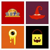 assembly of flat icons halloween zombie eyes bag gravestone witch hat poster
