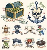 set of engraved, hand drawn, old, labels or badges for corsairs, skull at anchor, treasures, flag , Caribbean parrot. Jolly roger. Pirates marine and nautical or sea, ocean emblem poster