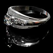 Platinum silver ring with diamond gem jewelry. Gold luxury jewellery bijouterie with crystal for people in love . Side view of crown gemstone and reflection on black background. 3D rendering. poster