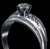 White gold engagement ring with diamond gem. Luxury jewellery bijouterie from silver or platinum with gemstone. Upper part of finger ring on black background. 3D rendering poster