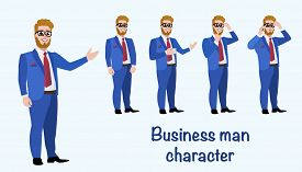 Set of business man in different poses isolated. Showing up, worried, taking on phone, drinking coffee.