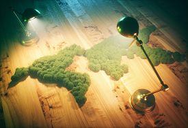 Vintage ecology sustainable development concept. 3d illustration.