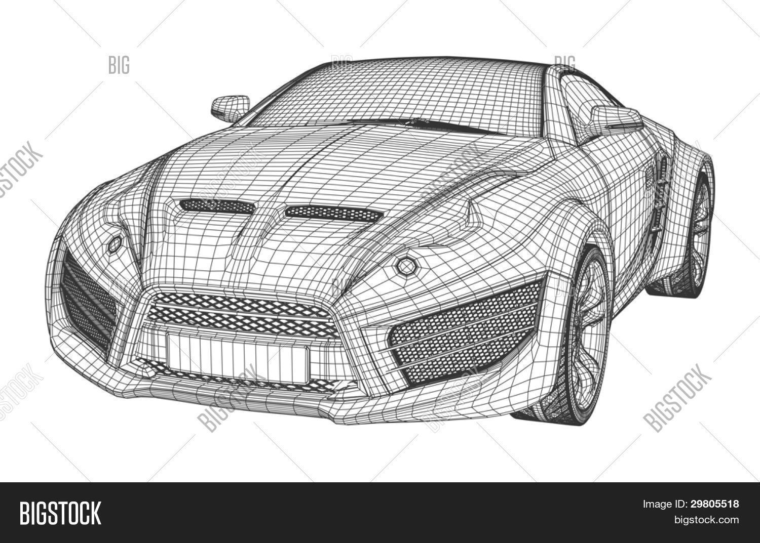 Sports Car Blueprint Vector & Photo (Free Trial) | Bigstock