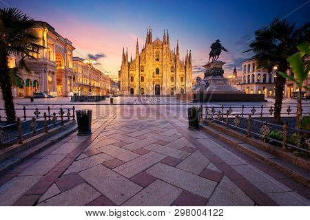 Milan, Italy. Cityscape Image Of Milan, Italy With Milan Cathedral During Sunrise.
