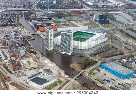 Aerial View City Of Goningen With Soccer Stadion, The Netherlands