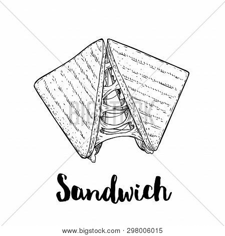 Sandwich With Melted Cheese. Grilled Fast Or Street Food. Lunch Restaurant Menu. Hand Drawn Sketch S