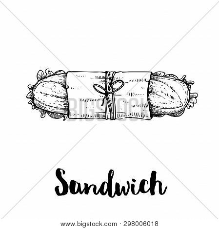Long Sandwich With Ham, Bacon, Lettuce, Tomato And Cucumber Slices. Top View. Submarine Sandwich In