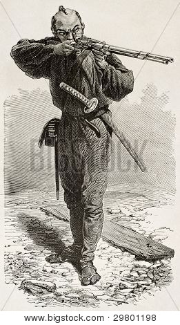 Japanese Taykun's soldier old engraved portrait. Created by Neuville after watercolor of Wirgman, published on Le Tour du Monde, Paris, 1867 poster