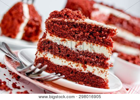 Red Velvet Cake, Classic Three Layered Cake From Red Butter Sponge Cakes With Cream Cheese Frosting,
