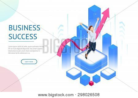 Isometric Business Woman Success, Leadership, Awards, Career, Successful Projects, Goal, Winning Pla