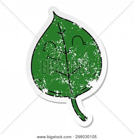 distressed sticker of a quirky hand drawn cartoon happy leaf poster