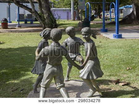 Bayamon/puerto Rico - February 26, 2019: Statues Of Children Playing Nside Central Park For Kids
