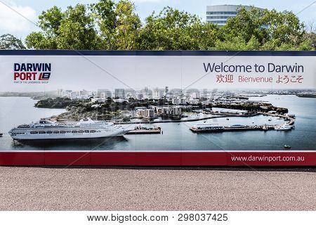 Darwin Australia - February 22, 2019: Large Mural Welcome Multi-lingual Photo Sign In The Port With