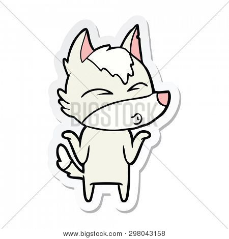 sticker of a cartoon wolf shrugging shoulders