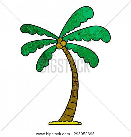 hand drawn quirky cartoon palm tree