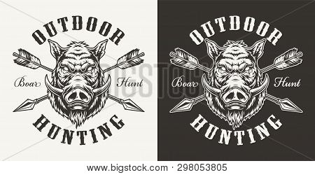 Vintage Boar Hunting Label With Ferocious Hog Head And Crossed Arrows On Light And Dark Backgrounds