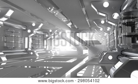 Dark futuristic science fiction interior of a laboratory or spaceship. Doors opening with light beams coming in. Generic technology and advanced engineering background. 3D rendering.