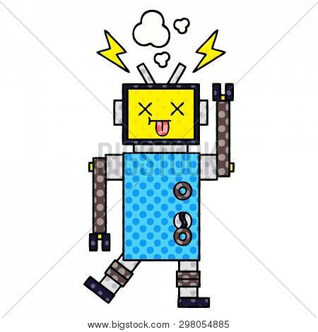 comic book style cartoon of a robot malfunction