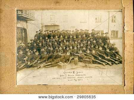 Vintage photo of Third Company of First Battalion of Police, Vilnius, 7th of March 1923