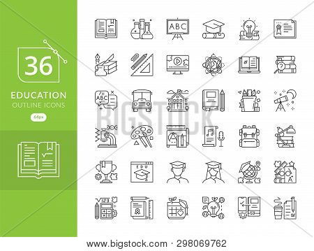 Education Icon Set, Education And Science Icon Set. Sign And Symbols Flat Design University