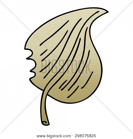 gradient shaded quirky cartoon munched leaf poster