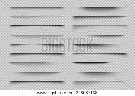 Paper Shadow Effect. Realistic Transparent Overlay Shadows, Poster Flyer Business Card Banner Shadow