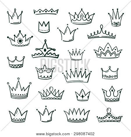 Doodle Crowns. Sketch Crown Queen King Coronet Urban Grunge Ink Art Crowning Vintage Coronal Icons M