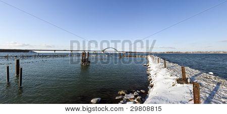 panoramic view of Fehmarn Sound with Fehmarnsundbrücke