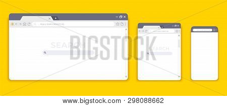 Browser Mockups. Website Interface For Different Devices, Empty Laptop Tablet And Mobile Internet Pa