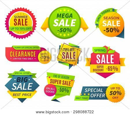 Sale Banners. Price Tag Promotion Stickers Labels And Coupons, Sale Ribbon Shape Offer Badge. Vector