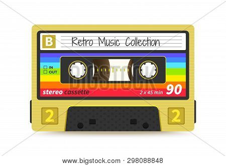 Retro Cassette. Vintage 1980s Mix Tape, Stereo Sound Record Technology, Old School Dj Rave Party. Ve