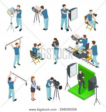 Cinematograph Isometric Set. People Work Camera Light Crew Movie Video Film Motion Production Tv Stu