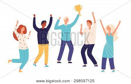 Winner Team. Leader Champion With Gold Trophy Cup And Happy Excited Employees Celebrate Win. Success