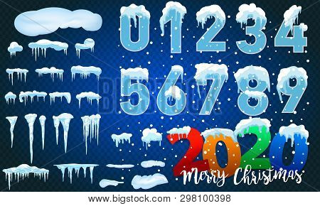 2020 Winter Decorations Set Of Snow Icicles, Snow Cap Isolated. Snowy Elements On Winter Background.
