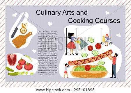 Culinary Art And Cooking Courses Poster, Banner Template. Happy Family Cooking Together A Hot Dog Co