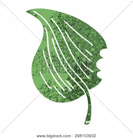 retro illustration style quirky cartoon munched leaf poster