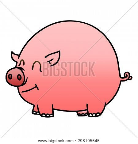 gradient shaded quirky cartoon pig