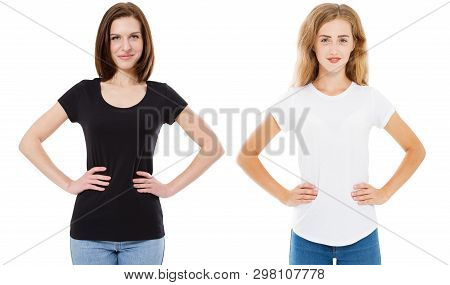Woman In Black And White T-shirt Mock Up, Girl In Tshirt Isolated On White Background, Stylish Tshir