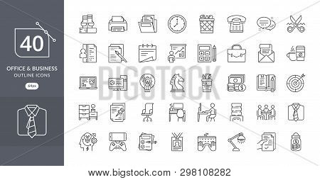 Set Of Business Office Related Vector Line Icons. Contains Such Icons As Desk, Document, Clock, Fold