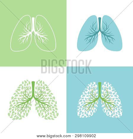 Lunges. Lung And Bronchus Vector Illustration, Healthy Lungs Tree With Leaves, Bronchi Human Respira