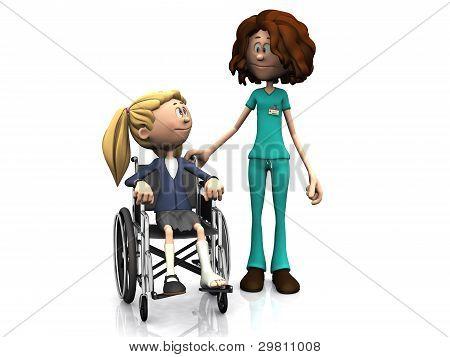 Cartoon Nurse And Girl In Wheelchair.