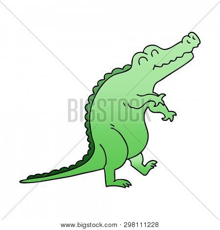 gradient shaded quirky cartoon crocodile