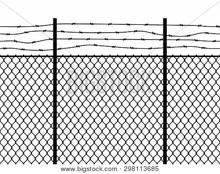 Prison Fence. Seamless Pattern Metal Fence Wire Military Wall Linkage Barbed Border Security Perimet