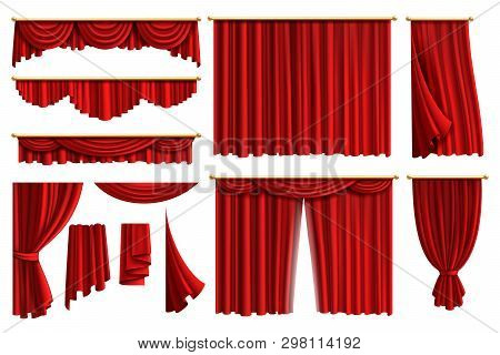 Red Curtains. Set Realistic Luxury Curtain Cornice Decor Domestic Fabric Interior Drapery Textile La