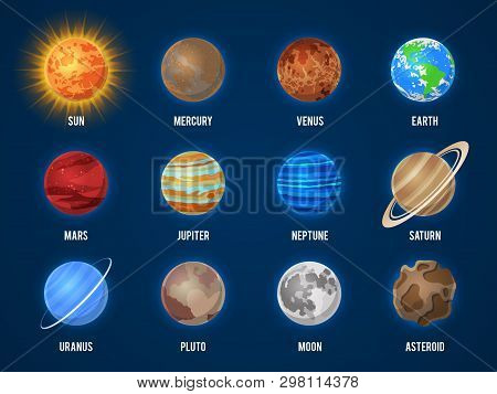 Solar System Cartoon Planets. Cosmos Planet Galaxy Space Orbit Sun Moon Jupiter Mars Venus Earth Nep