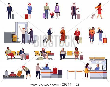 People Airport Set. Family Travel Registration Passport Control Checkpoint Security Airport Terminal