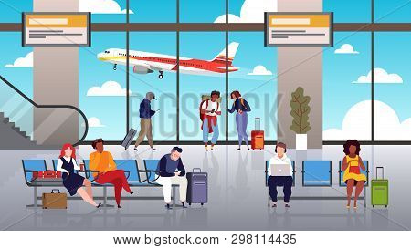 Airport Terminal. People Travel Tourist With Luggage Control Hall Departure Airport Waiting Passenge